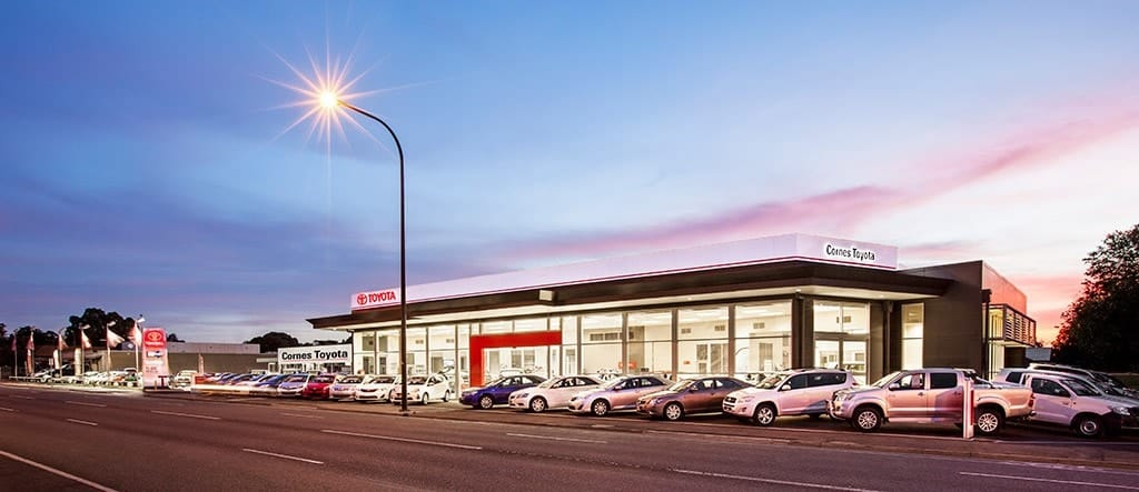 Cornes Toyota Showroom Exterior at Sunset