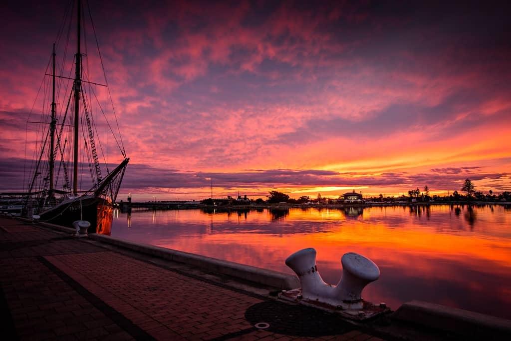 Renewal SA Port Adelaide Wharf Sunset
